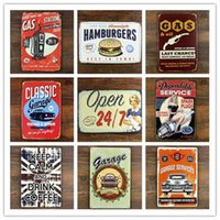 Wholesale 100PCS Classic Car Motorcycle Bike Star Metal Tin Sign Home Bar Pub Cafe Wall Decor Art Poster Plaque
