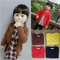 Wholesale Hot sale cotton baby clothes new fashion cotton solid sweater children s sweater knit cardigan jacket small cardigan T80171
