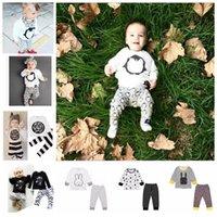 Wholesale Baby Ins Clothing Sets Ins Fashion Suits Stripe Plaid Outfits Letter Penguin Tops Pants Cotton Fox Shirts Trousers Pajamas Sleepwear KKA912
