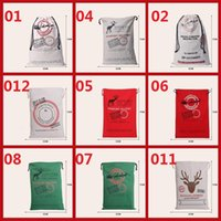 Wholesale Hot style DHL Free Large Canvas Monogrammable Santa Claus Drawstring Bags With Reindeers Monogramable Christmas Gifts Sack Bags