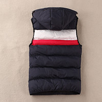 Wholesale Winter Mens Down Warm Hooded Brand Vset Chaleco Hombre Dark Blue Black Sleeveless Jackets Gilet Homme Waistcoat Colete Masculino