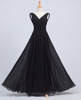 Wholesale Cheap Dress Fast Shipping - Bridesmaid Dresses New Arrival Fashion V-Neck Black Long Chiffon dress events Cheap Price High Quality Evening Dress Fast Shipping