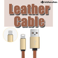 Wholesale High quality Universal A M ft LM leather Micro USB cable data sync charging cabel for cell phone mobile phone