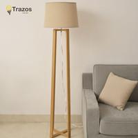 Wholesale New Chinese Style Floor Lamp Lamparas De Pie Vertical Wooden Floor Light For Living Room Standing Lamp Indoor Lighting Fixture