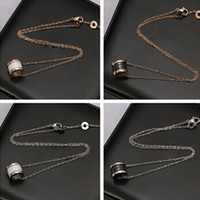 Mexican arc link - The black and white version titanium arc edge thread Ceramic Pendant Necklace