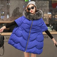 Wholesale Feather Jacket Cloak Coat MS Winter Parkas Big Fur Hooded Bat Sleeve A Line Jacket Ladies Thick Warm Outwear Overcoat Fashion