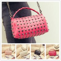 bag of white feathers - Brand new wave of female fashion women style bucket bag chain rivet retro portable shoulder Messenger Bag VMB75
