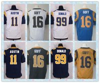 aaron football player - Fast New Player Elite Men s Football Jerseys Tavon Austin Jared Goff Aaron Donald White Blue Gold Stitched Jersey