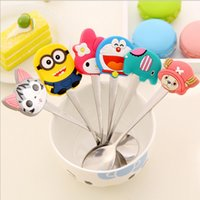 Wholesale 2pcs Cartoon Cute Animal Stainless Steel Tea Coffee Spoon Kitchen Tableware Action Figure Model Toy Doll For Collection