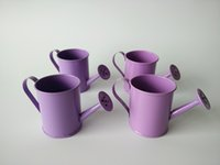 baby easter egg - 100Pcs D5 H6CM Purple Mini Watering can Violet tin box Small watering cans Easter eggs pot For Baby shower Party