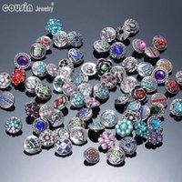 al por mayor botones de diamantes de imitación 12mm-50pcs / lot caliente de la mezcla de alta calidad Muchos estilos de metal 12mm Snap Button Estilos Rhinestone del encanto Botón Ginger Snaps joyería