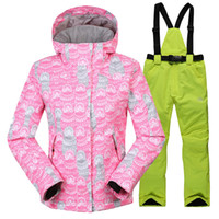 Wholesale Winter Clothing womens Ski Suit Girl jackets Jumpsuit pants Set Waterproof Windproof Breathable Clothes warm wind jacket