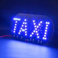 Wholesale Free ship Taxi led Car Windscreen Cab indicator lamp Sign Blue LED Windshield Taxi Light Lamp V LED Working Lights