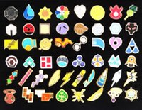 Wholesale 50 With Box Region Gyms Badge League Cosplay Toy League Pins Brooches Metal Figure Toys