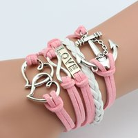 anchor party supplies - Europe and selling hand woven supply in Europe and America anchor crossbar Love Double Heart Bracelet multi layer support mixed batch