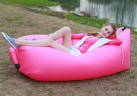 beach chairs free shipping - Hangout Fast Inflatable Lounger Air Sleep Camping Sofa Beach Nylon Fabric Sleeping Bag Bed Lazy Chair Outdoor