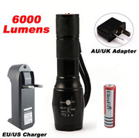 Wholesale A LED CREE XM T6 Flashlight Lumens Torch modes Tactical Flashlight Zoomable Flash Light Battery Charger