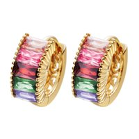 amethyst hoops earrings - 10pcs K Gold Plated Jewelry Colorful Amethyst Ruby Women s KT White Gold Filled Hoop Earrings A1573