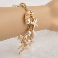 bib pictures - bib coverall Hot Fashion Gold Luxury Chunky Sea Shell Starfish Bracelets For Women T367 bib pictures