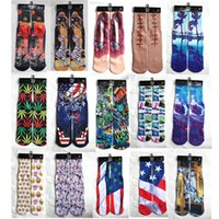 Wholesale 3 D Printing Socks European Trend Fashion Motion Leisure Time Male Socks Street Basketball Towel Socks