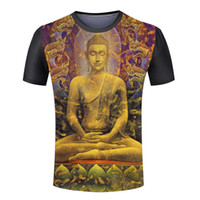 Wholesale New Arrival Men s d buddha printing T shirt Round Neck Males Summer T shirt Tops Tees