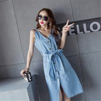 Wholesale 2016 Summer New European And American High End Women s Fashion Personality Collect Waist Short Solid Color Cowboy Dress Blue XY sh050