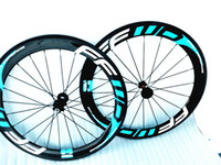Wholesale by EMS ffwd f6r mm glossy finish blue white bicycle carbon wheels mm wide clincher tubular bike wheels also sale frame