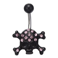 belly best - 316L Surgical Steel Black Skull Dangle Body Piercing With Pink CZ Navel Belly Ring Piercing PC g Best Gift for Women