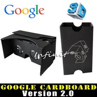 Wholesale In business Black VR2 Google Cardboard vr Google D glasses Generation1 VR glasses for inch phones DIY assembly craft INBEHVG000