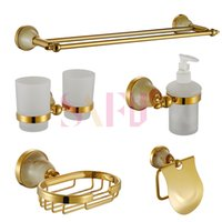 bathroom paper products - Luxury Gold Crystal Decoration Bathroom Hardware Hanger Set Towel Bar Rack Paper Holder Shelf Brush Sanitary products Accessories Set