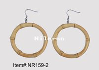 Women's bamboo earrings - hand made round circle ring natural bamboo root earrings