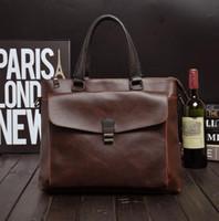 Wholesale Factory direct brand bag retro Crazy Horse Leather Men s briefcase business men single shoulder bag British style stereo pocket bag