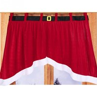 Wholesale Christmas Irregular Creative And Comfortable Flannel Material Curtains Red Color