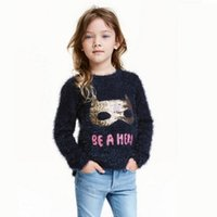 Wholesale Winter Girls Mask Sweater Catwoman Feather Yarn Little Girls Knitted Pullover Kids Warm Clothes Be A Hero Jumper