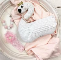 baby sleeper pattern - New design Cute Knitted Swan Pillow Handmade Baby Room Decor Child Car Seat Soft Cotton Newborn Bedding In Stock