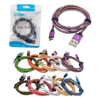 bag connector - 1m m m ft Fabric Cords Nylon Braided Micro USB Cable Unbroken Metal Connector Lead charger A Cord For Android DHL Retail Package Bag