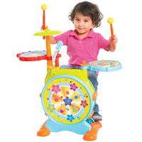 Wholesale Kids Electronic Toy Drum Set with Adjustable Sing along Microphone and Stool