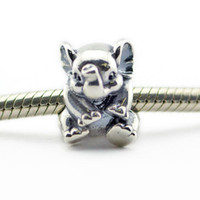 Wholesale Animal charms elephant S925 Sterling Silver Fits For Pandora Style Bracelets H9