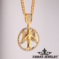 angle face - 2016New Hip hop long Angle necklace K gold plated High quality crystal pendant Rhinestone Fashion Jewelry for women men