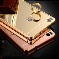 Wholesale For Huawei P8 Case Luxury Aluminum Mirror Bumper For Huawei P8 Cell Phone Cases PC Back Cover Metal Fundas Mirror Frame