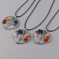 Cheap Tree of life Necklaces Chakra Citrine Amethyst Opal Agate Beaded Natural Stone Pendant Jewelry Chains Christmas Gifts