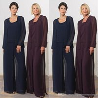 beads parts - Long Sleeve Pieces Mother Of The Bride Pant Suits Dark Navy Grape Women Wear for Evening Part Wedding Plus Size