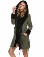 Wholesale New Women Large Collar Faux Fur Coat Parka Casual Army Green Black Thickening Hood Parkas Ladies Long Trench Jacket Outwear