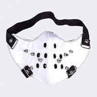 Wholesale White PU Leather Spike Respirator Mask Party Costume Breathing Mask Classic Motorcycle Wind Proof Mask