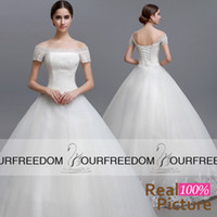 Wholesale SQS04 Elegant Bateau Neck Fall Wedding Dresses Exquisite Beaded Crystal Puffy Tulle Lace Ball Gown Vintage Bridal Gown