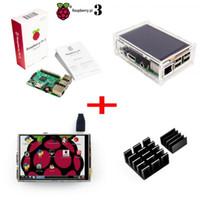 al por mayor táctil lcd de frambuesa-Frambuesa Pi3 Modelo B Tablero + 3.5 TFT Frambuesa Pi3 LCD Pantalla Táctil + Caja Transparente para Raspbery Pi 3 Pi2 Kit