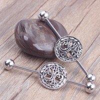 barbell tree - Tree of life Logo Ear Industrial Barbell Piercing Set With Surgical Steel Earring Jewelry wholesales body jewelry