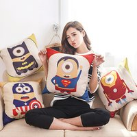 Wholesale Despicable Me Minions pillow case Super Hero Pillow Case Batman Superman Cushion Cover Sofa Linen Cotton Cushions Pillows Covers kids gift