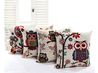 Wholesale New Factory spot direct selling model of cushion for leaning on of foreign trade Yarn dyed owl pillow Contains no pillow core