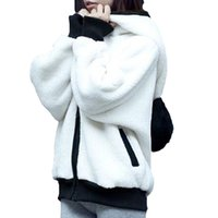 Wholesale 2016 Korea style Winter Woman Hoodies With Panda Ear Wool Cute Sweatshirt Zipper Long sleeve Thick Fluffy Warm Cute Outwear